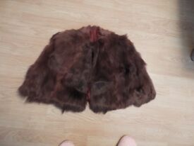 Vintage Bolero Brown fur feel and lined - not sure if its real fur