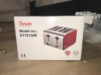 Swan red & silver toaster