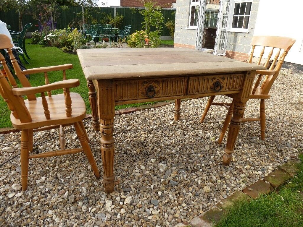 Pine old table (of unknown origin) and 4 carver chairs (would split)