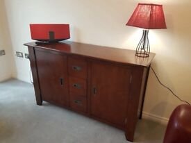 Full dining room set: solid wood table, six chairs, sideboard coffee table, two bookcases