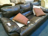3 seater sofa; Brown leather #29768 £60