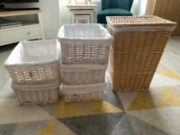 5 lightweight lined wicker baskets and laundry basket