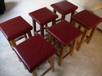 SET OF 6 WOODEN STOOLS price reduced (£25)