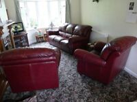 Red Leather 3 piece suite. Good condition for age - lots of life left