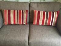 Pair of New Striped Velvet Cushions