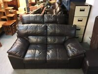 BROWN LEATHER SOFAS (DELIVERY AVAILABLE)
