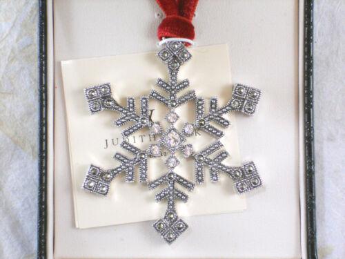 NIB JUDITH JACK Snowflake Pendant Ornament 2006 Marcasite Crystals Rhodium