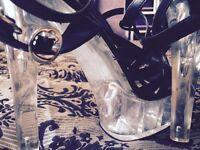 Glass heel sandles
