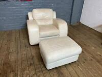 RETRO WHITE LEATHER ARMCHAIR AND FOOTSTOOL