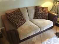 Brown leather & fabric 2-3 seat sofa