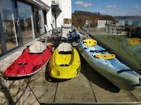 3 Kayak Bundle. 1 two man Ocean Duo, 2x BIC 1 seat kayak, 5x life jackets, 3x trolleys, 4x oars