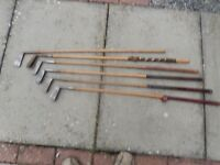 Wooden shafted golf clubs