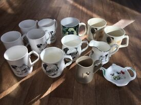 Collection of pug mugs/cups/jugs
