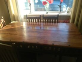 Large dining table with 6 chairs dark oak
