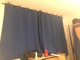 Blue curtains, blind