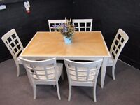 Large Dining Table and 6 Chairs - 2 carvers - New Upholstery - Eggshell