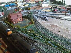 Hand made landscaped train track and trains