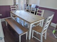 Dining Table with 5 chairs and bench for sale