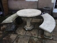 Stone Garden table & benches