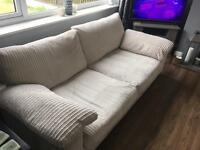 Three Seater Cream Jumbo Cord sofa