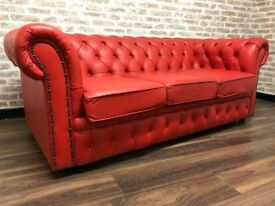 3 Seat Postbox Red Chesterfield Club Sofa