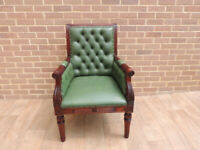 Chesterfield Armchair Green Leather (UK Delivery)