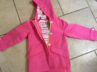 Joules girls pink raincoat age 7, in great condition as hardly worn