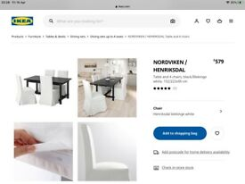 Ikea dining chairs with cover x 4
