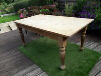 pine scullery style table fluted legs