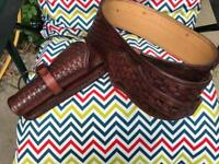 Hand tooled gun belt and holster
