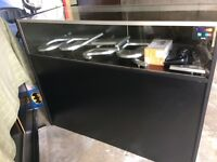 Shop Display counter and slatwall approx 4ft height x meter wide