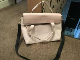 Large pale pink faux leather bag