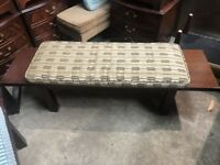 Unusual Dark Wood Bench Seat with Removable Seat Cushion made by Tanous 1 Left
