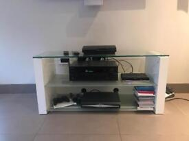 Contemporary TV stand White and Glass Shelves