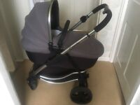 Icandy strawberry pushchair, slate grey and black with chrome frame, used condition