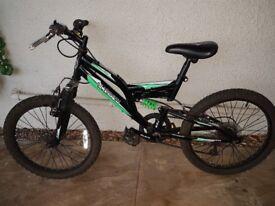 "Silverfox vault duel suspension bike. 20"" wheels. Ok condition. Usual damage to handlebar grips."