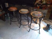 vintage bentwood style metal bar stools large quantity available funky fabrics or solid wood seats