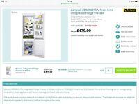 Zanussi Fridge Freezer (with built in capability), brand new