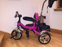 GIRLS BRIGHT PINK SMART TRIKE WITH PARENT HANDLE