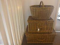 3 large wicker baskets