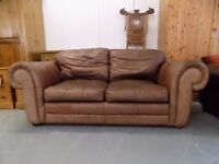 Laura Ashley Southfield Brown Leather 2-3 Seater Sofa
