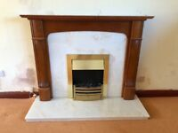 Cherry wood and marble fireplace suite with electric fire
