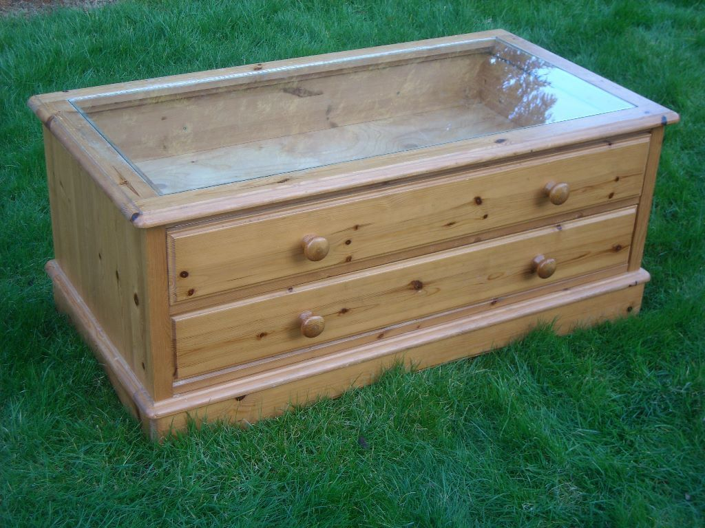 Unusual Large Pine Coffee Table C W Glass Bijouterie Display Top Through Drawers