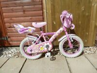 Girls Pink 14 inch Bike with daisy decoration