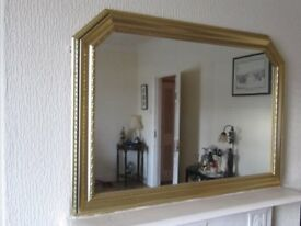 modern large wall mirror in gold effect frame