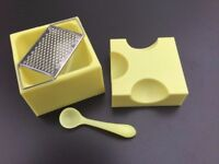 Unusual Fun Cheese Grater including Storage Box and Spoon