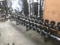 Rubber coated dumbbell set with rack