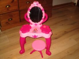 girls pink dressing table with stool light up & sounds