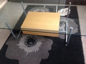 ikea coffee glass top table with draw