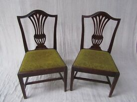 Hepplewhite Style Georgian Dining Chairs with Drop In Seats x3